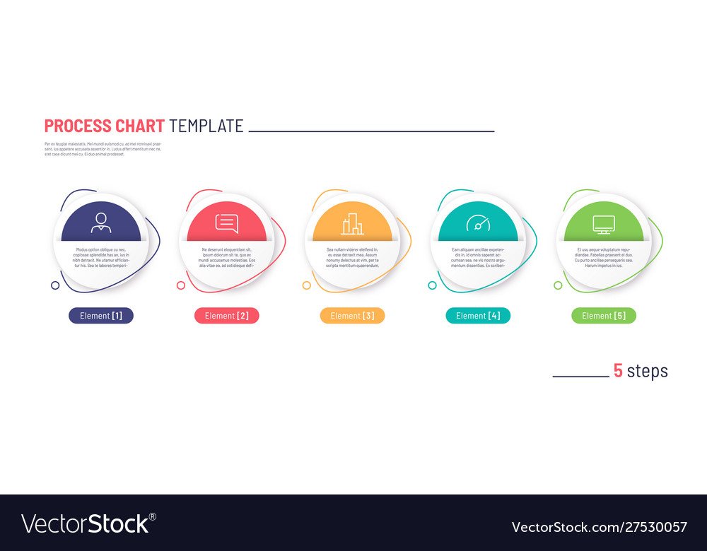 Infographic process chart template five
