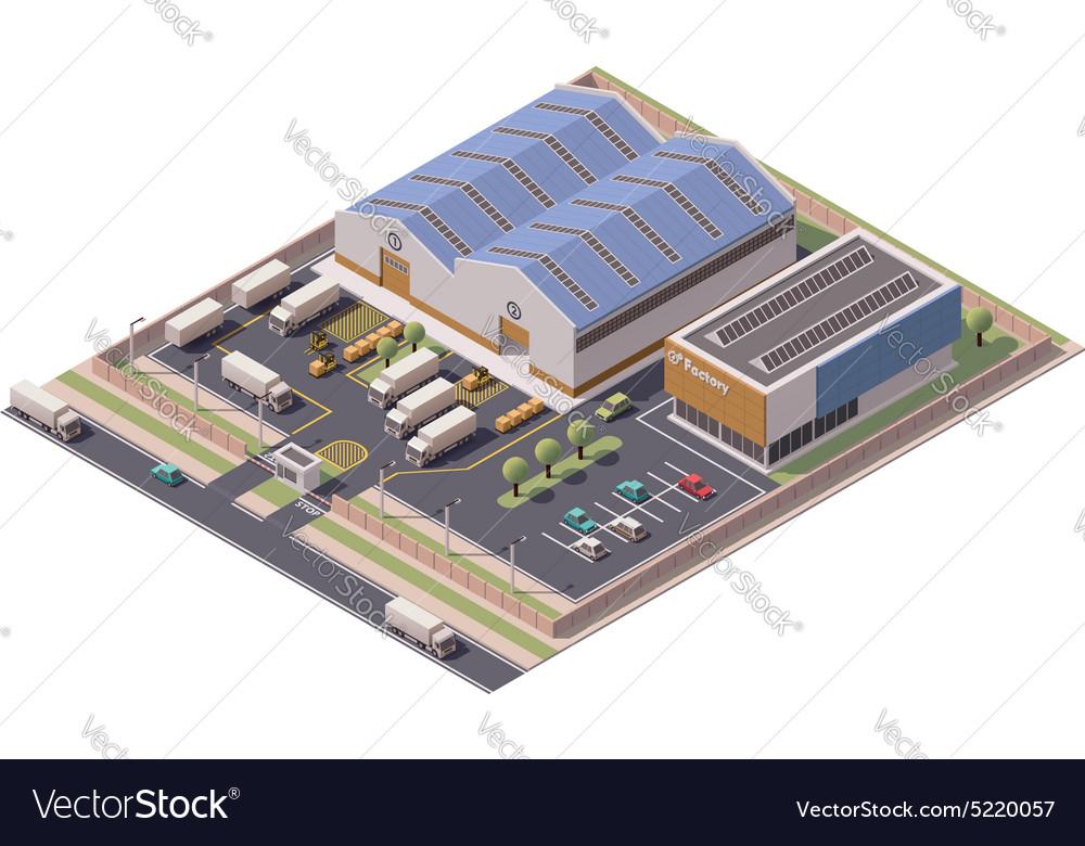 Isometric factory buildings icon