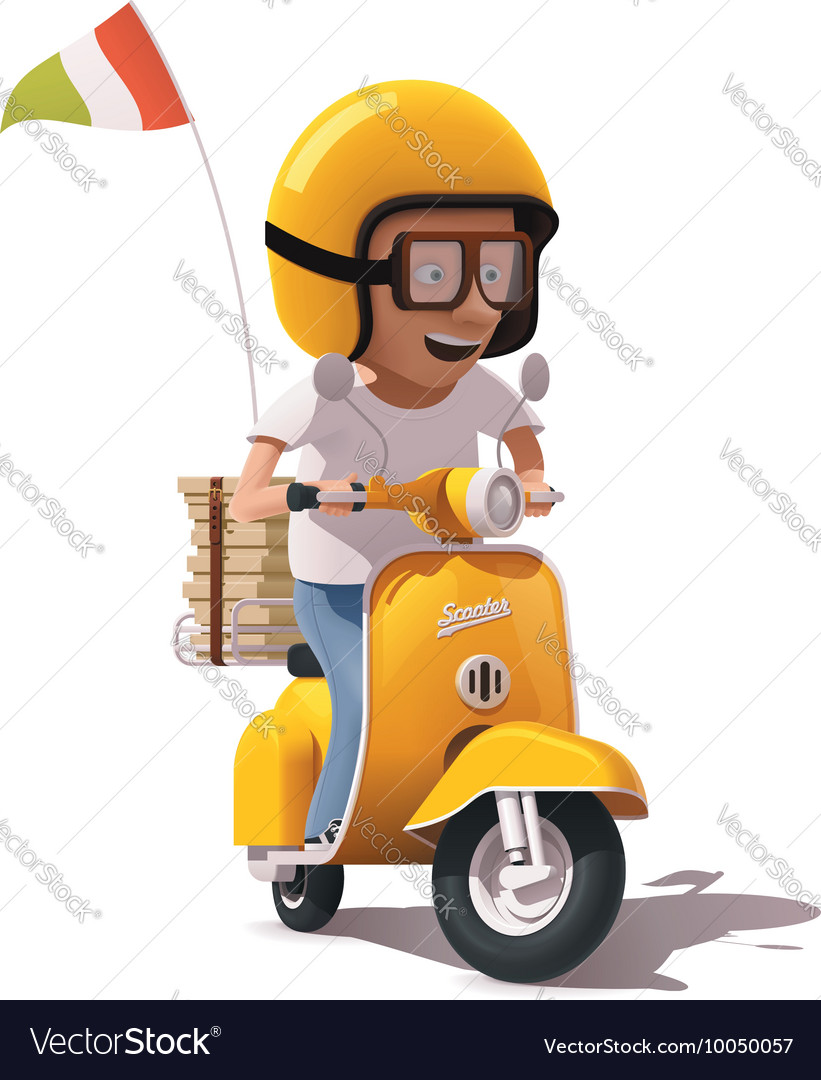 Realistic retro pizza delivery scooter and