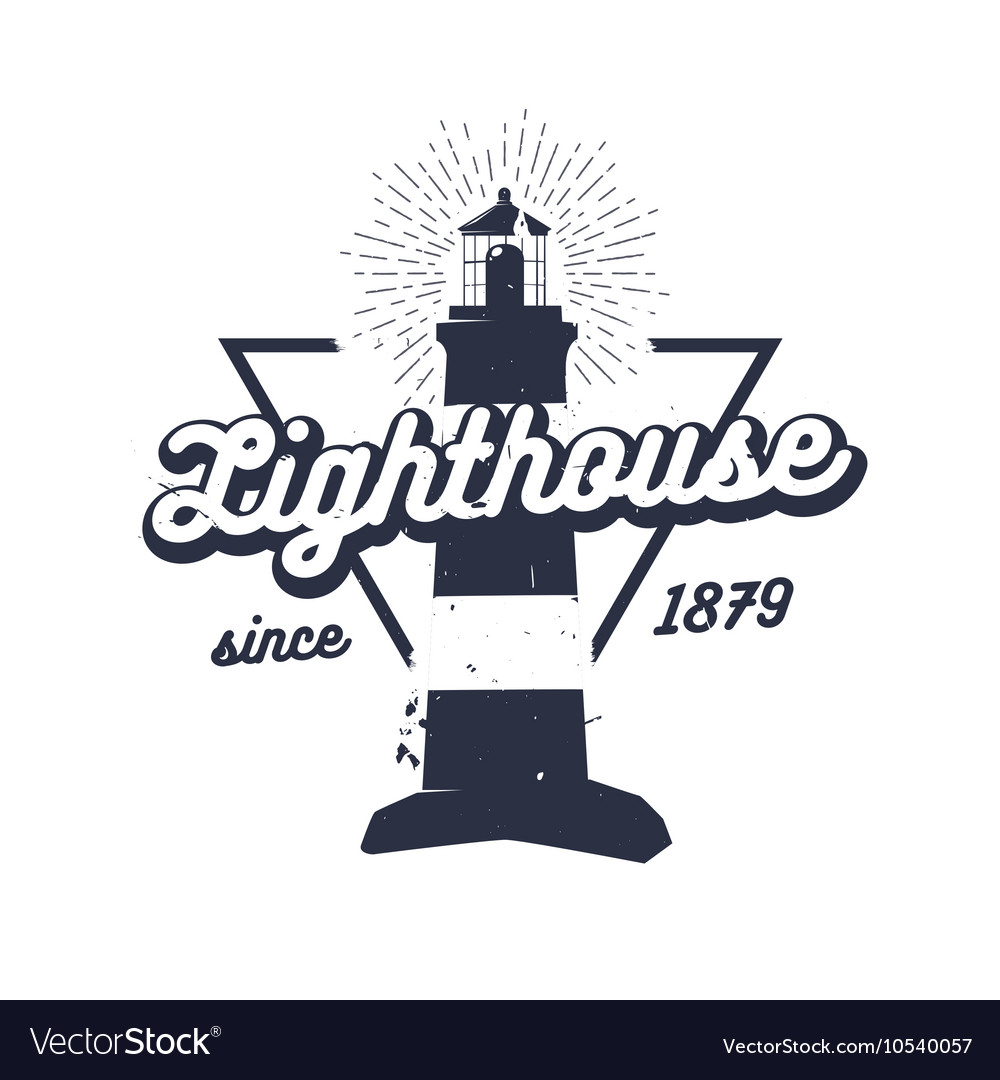 Retro nautical label with lighthouse sunburst and