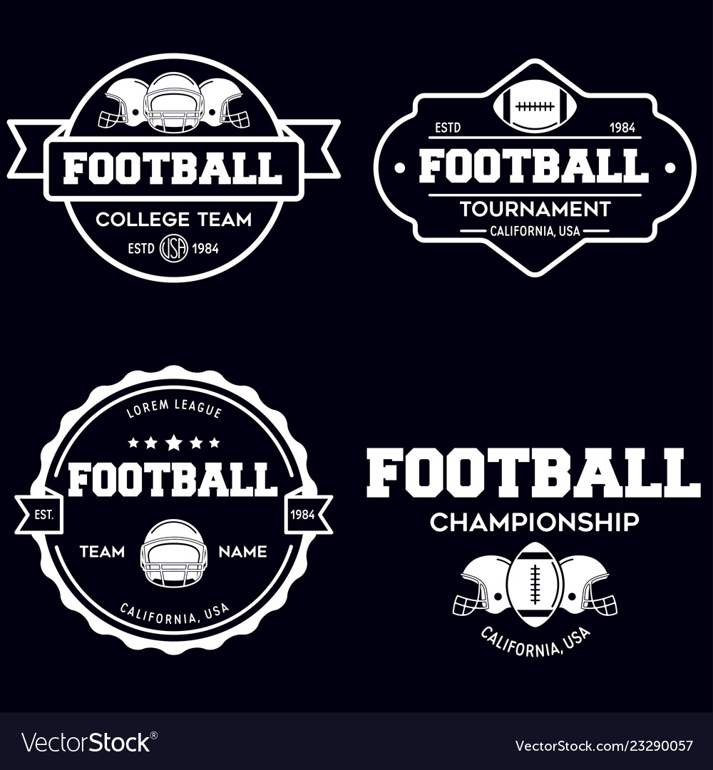 Set of american football related badges logos