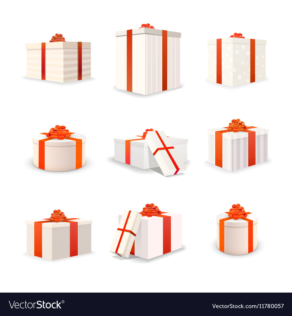 Set of white bright gift boxes with red tapes and