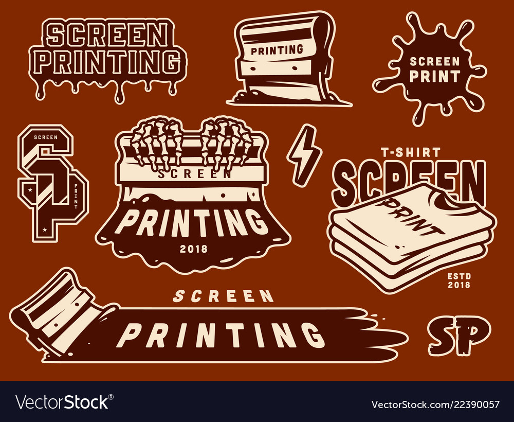 ac5fe603eca6 Vintage screen printing elements collection Vector Image