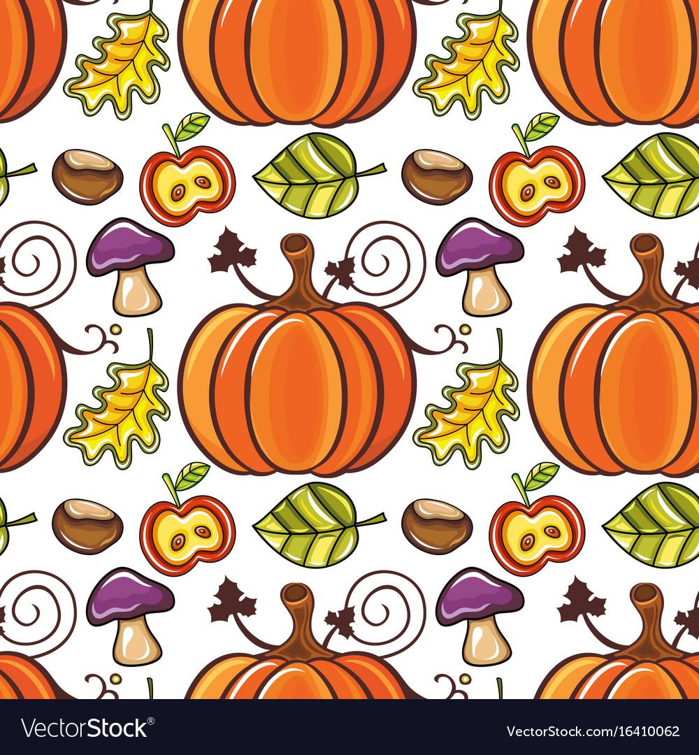 Autumn seamless pattern with ripe pumpkins