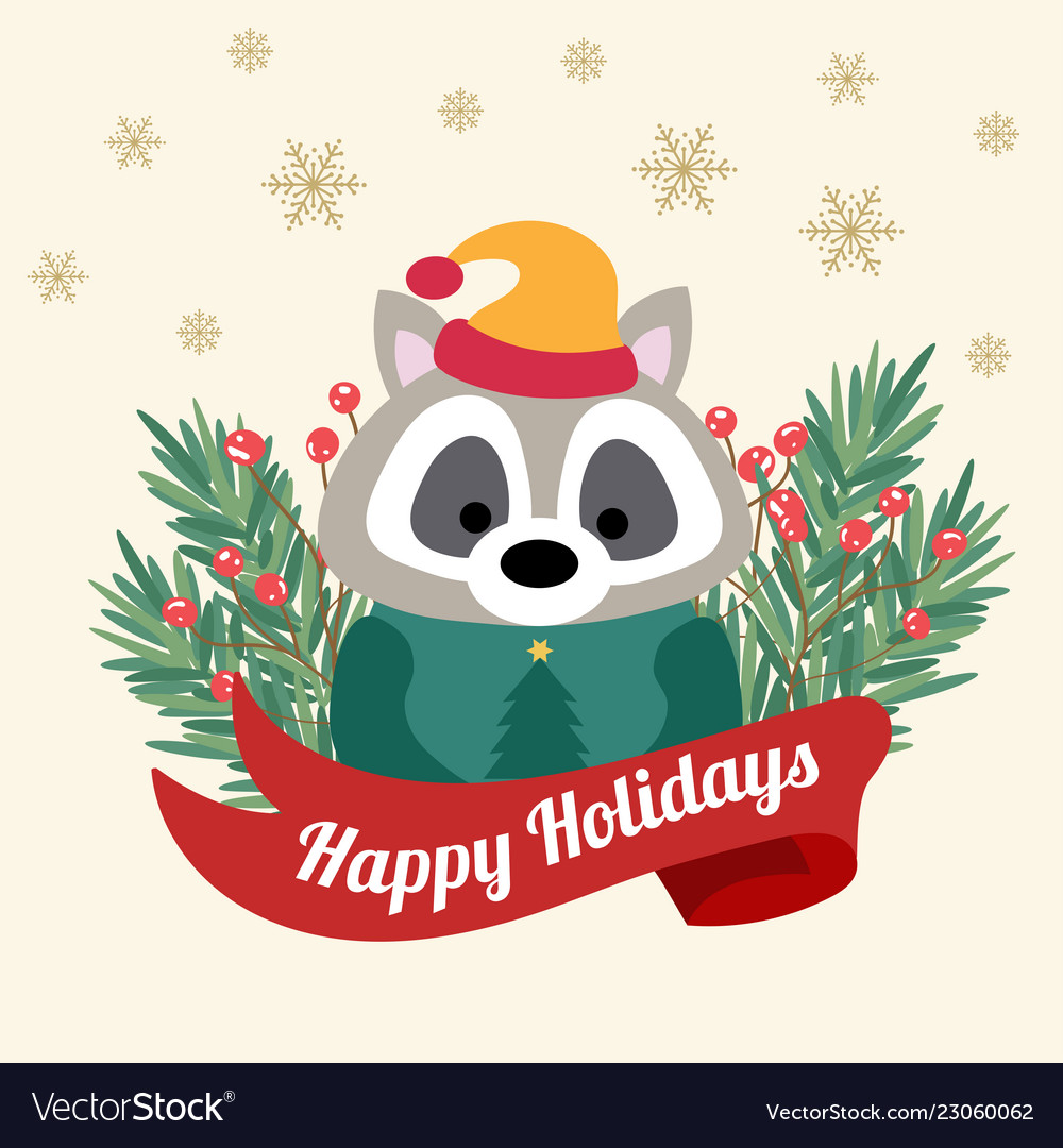 Christmas card with tree braches and funny raccoon