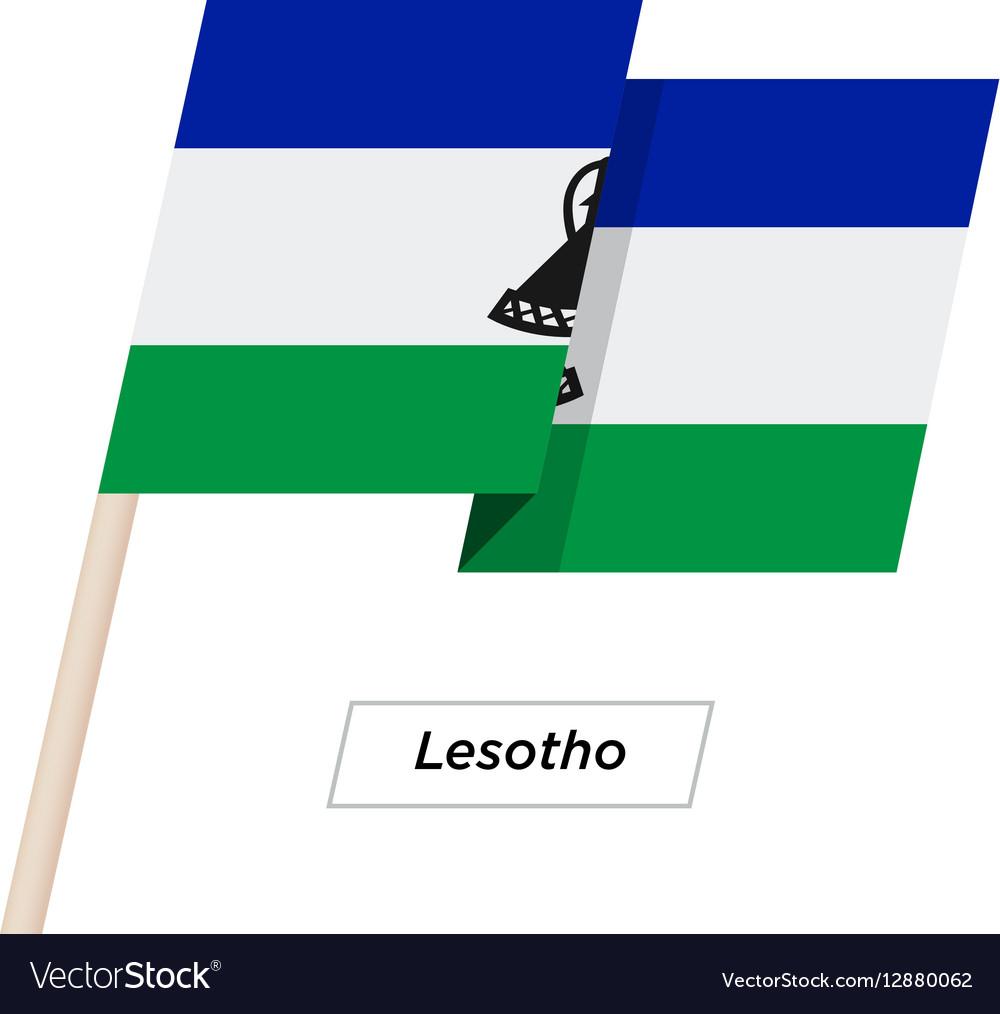 Lesotho Ribbon Waving Flag Isolated on White