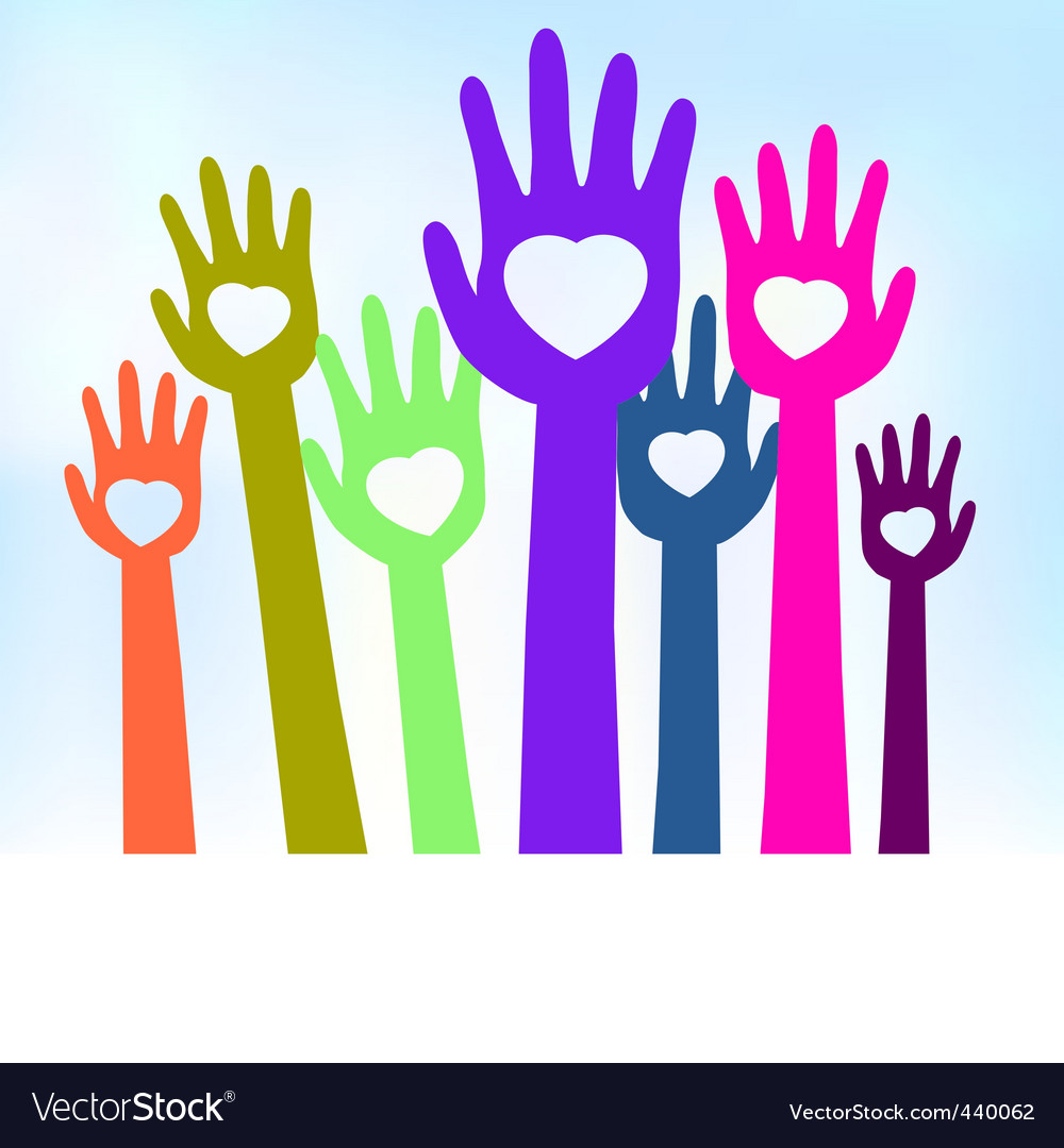 Loving hands template card vector image