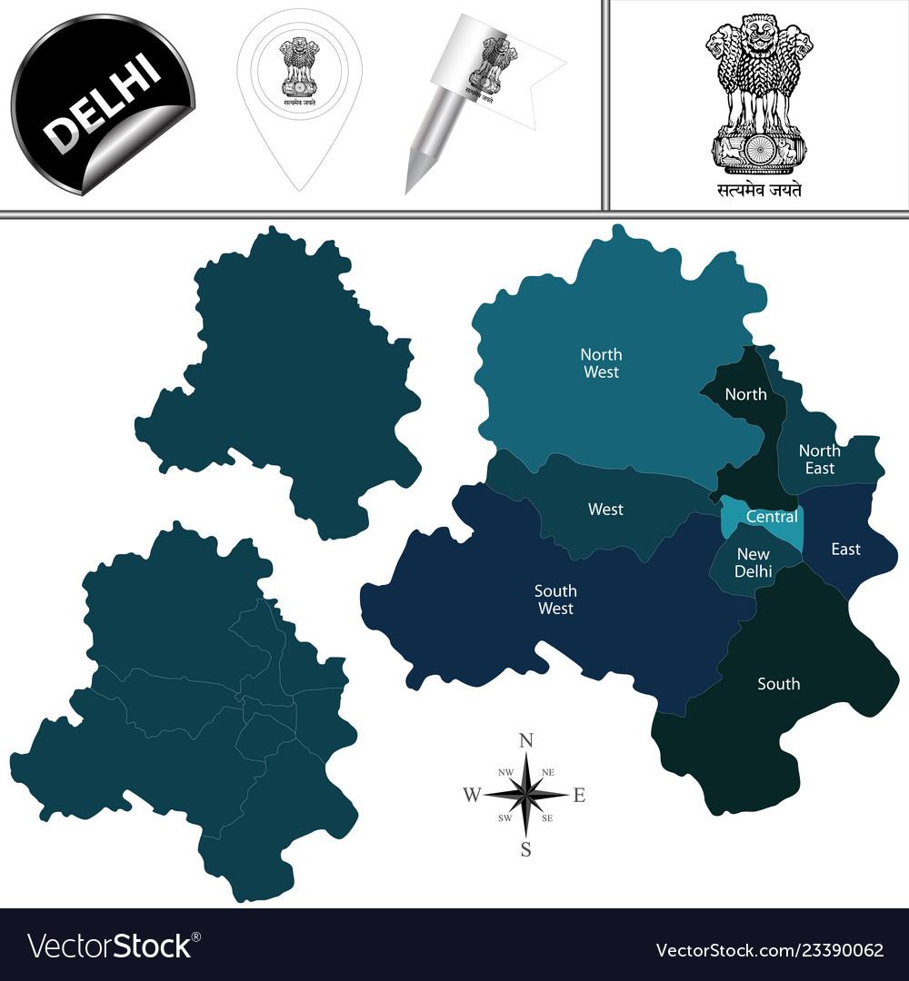 Map Of Delhi India Royalty Free Vector Image Vectorstock