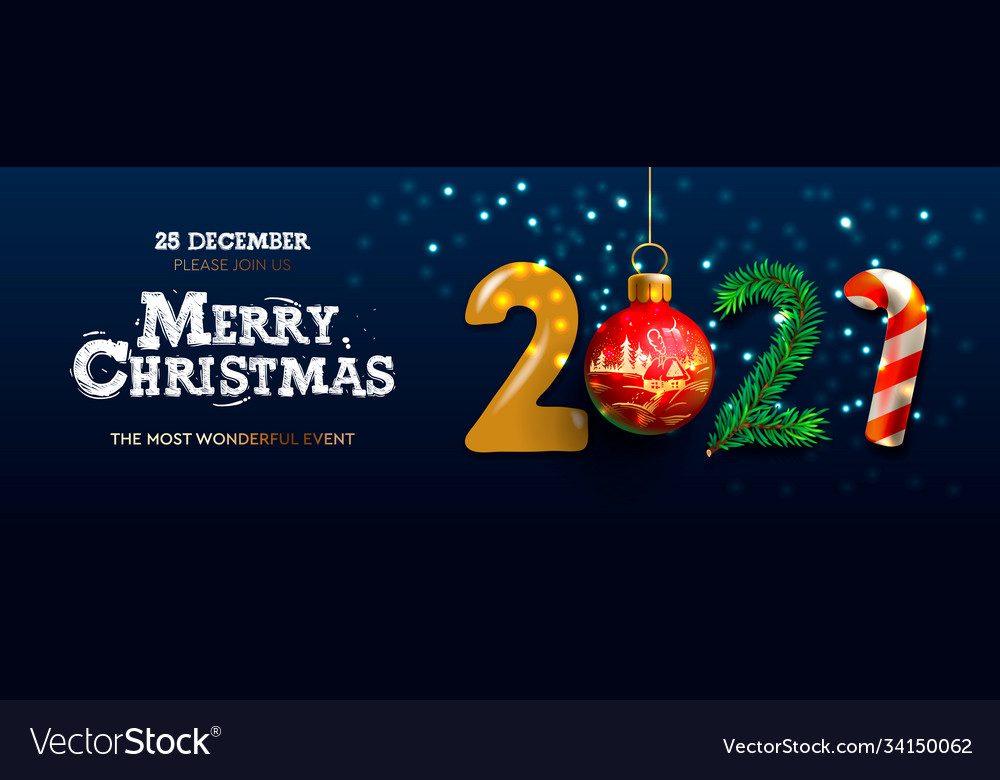 Hanging Banner Images Merry Christmas & Happy New Year 2021 Merry Christmas And Happy New Year 2021 Banner Vector Image