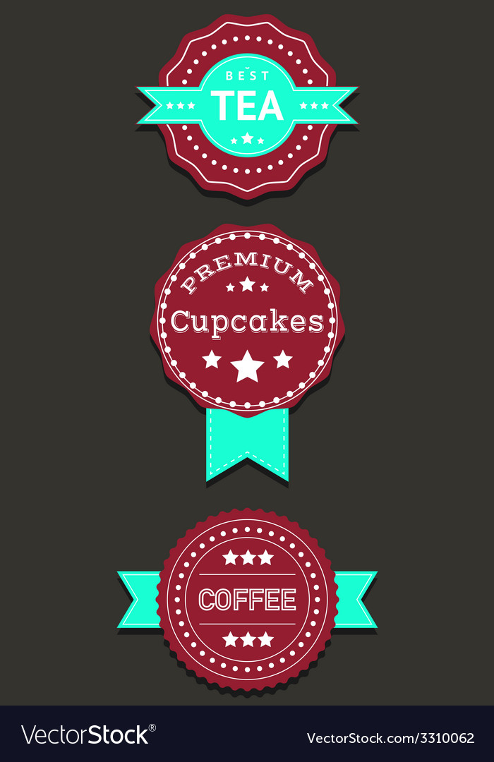 Set labels and badges with Coffee Tea Cupcakes