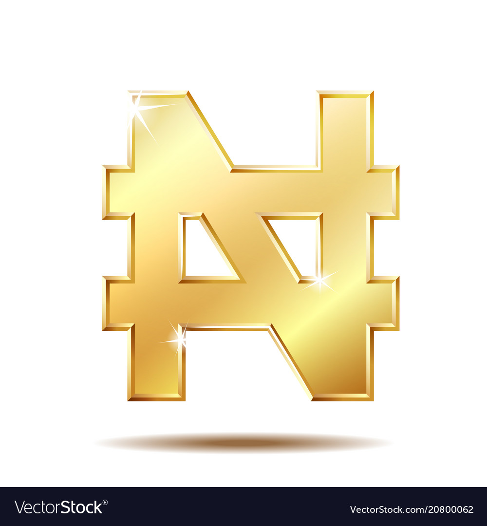 Shiny Golden Nigerian Naira Currency Sign Vector Image