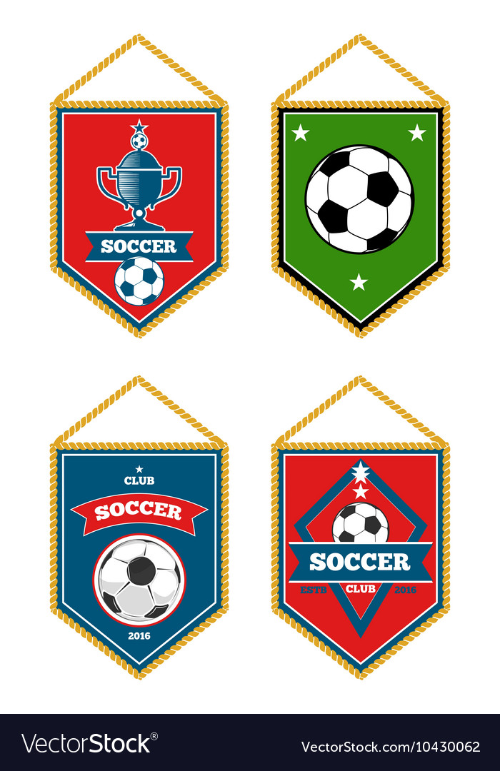 Soccer pennants set isolated white