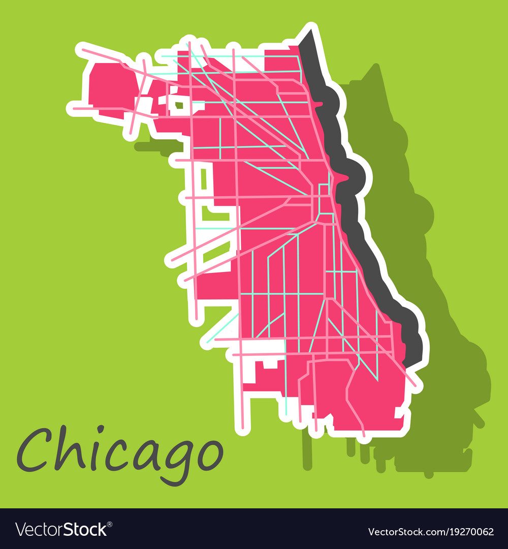 Sticker Map Chicago City Illinois Roads Royalty Free Vector