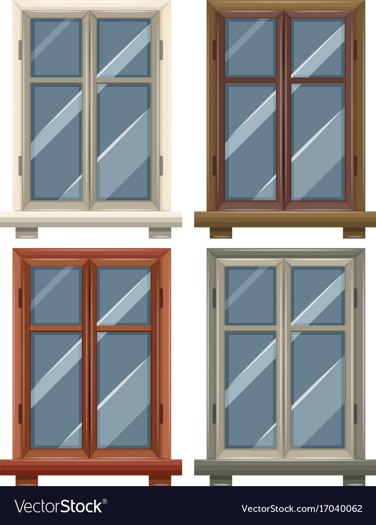 Windows with four frames Royalty Free Vector Image