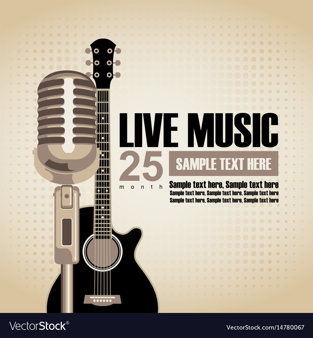 Banner for concert with guitar and microphone vector image