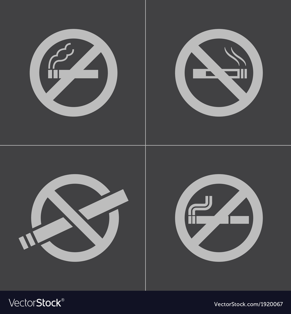 Black no smoking icons set