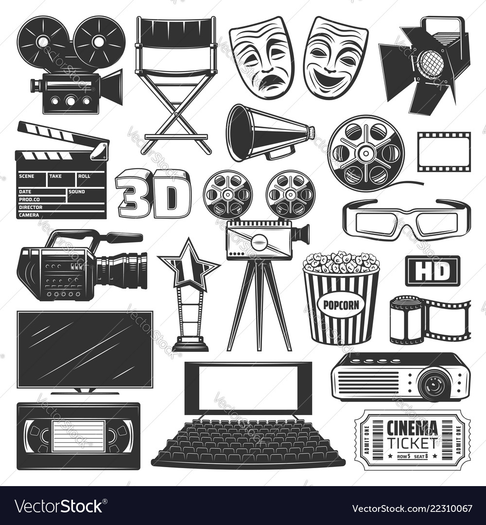Cinema production watching equipment signs icons