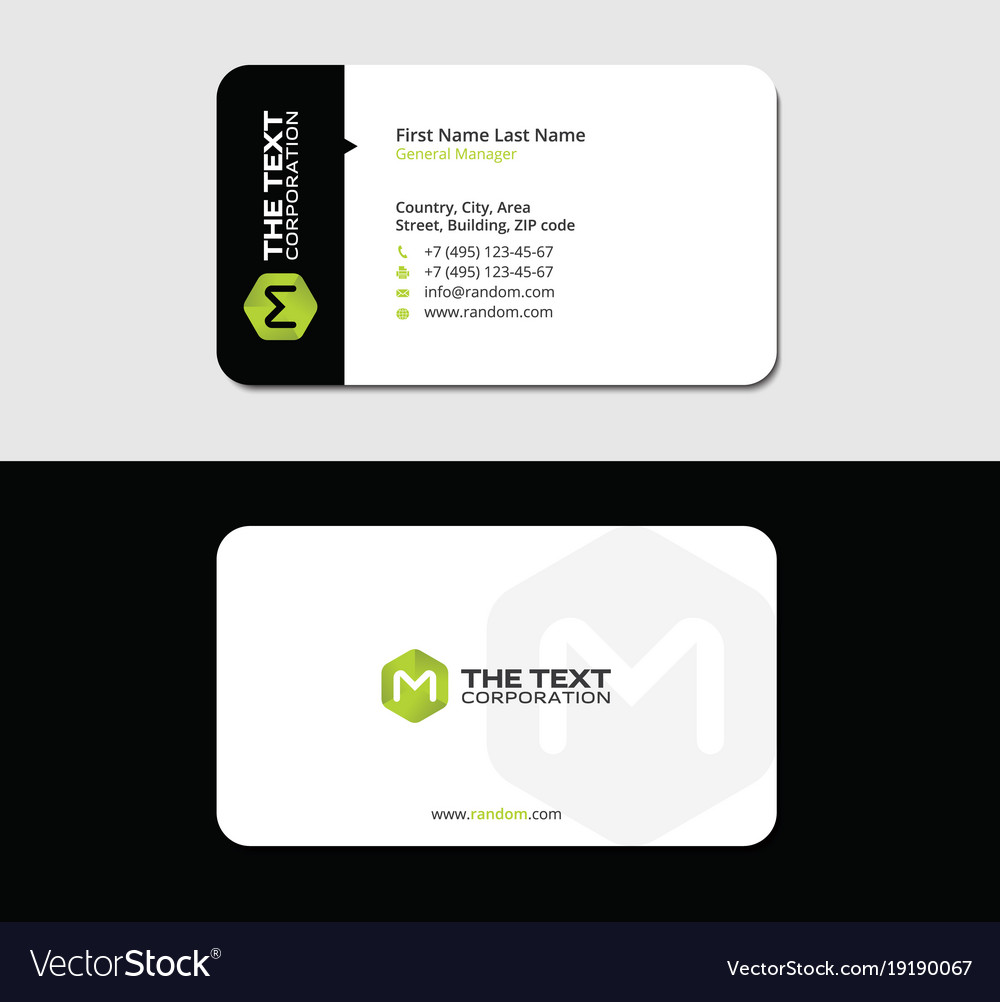 Colored business card green letter m Royalty Free Vector