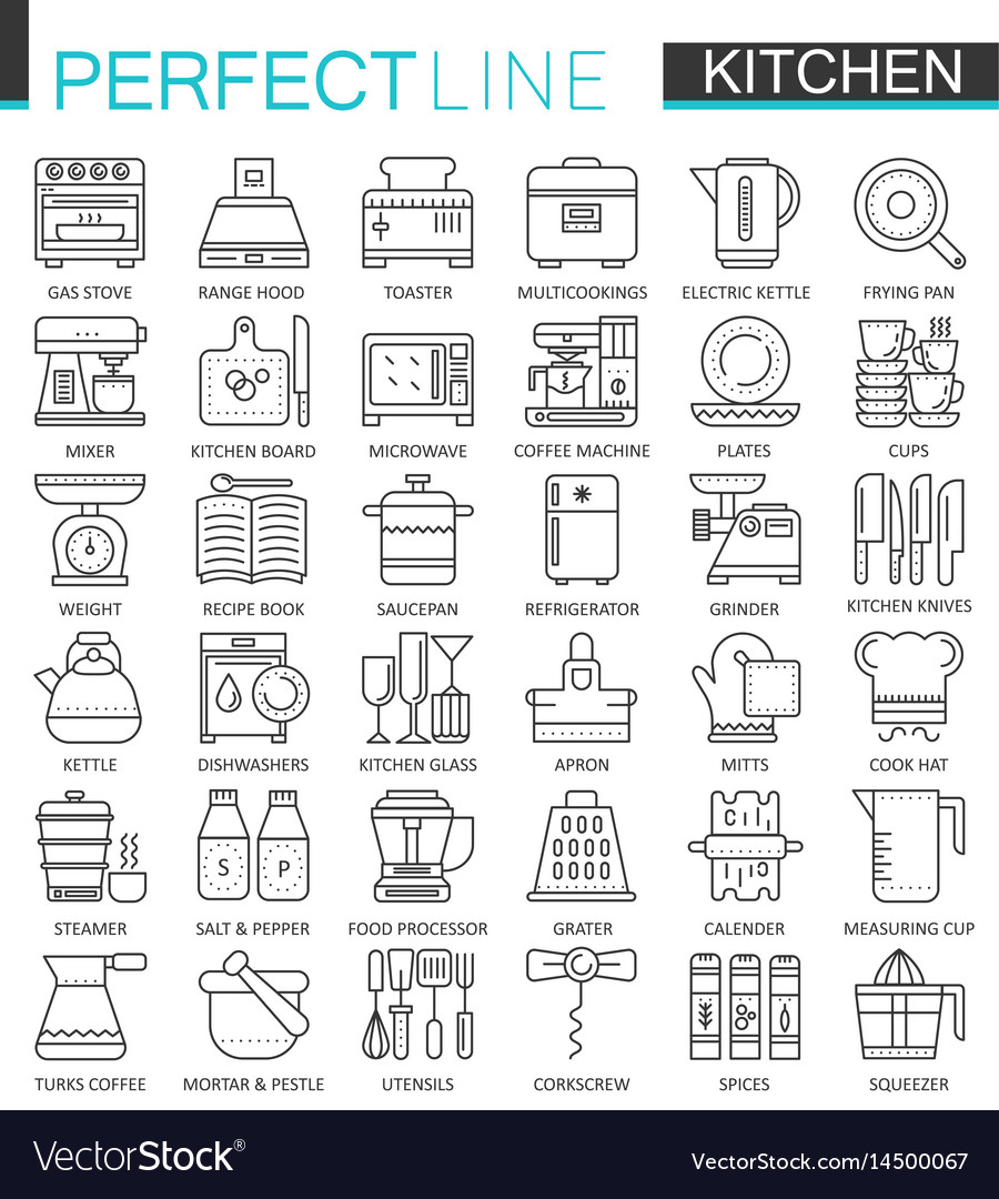 Cooking and kitchen outline concept symbols vector image