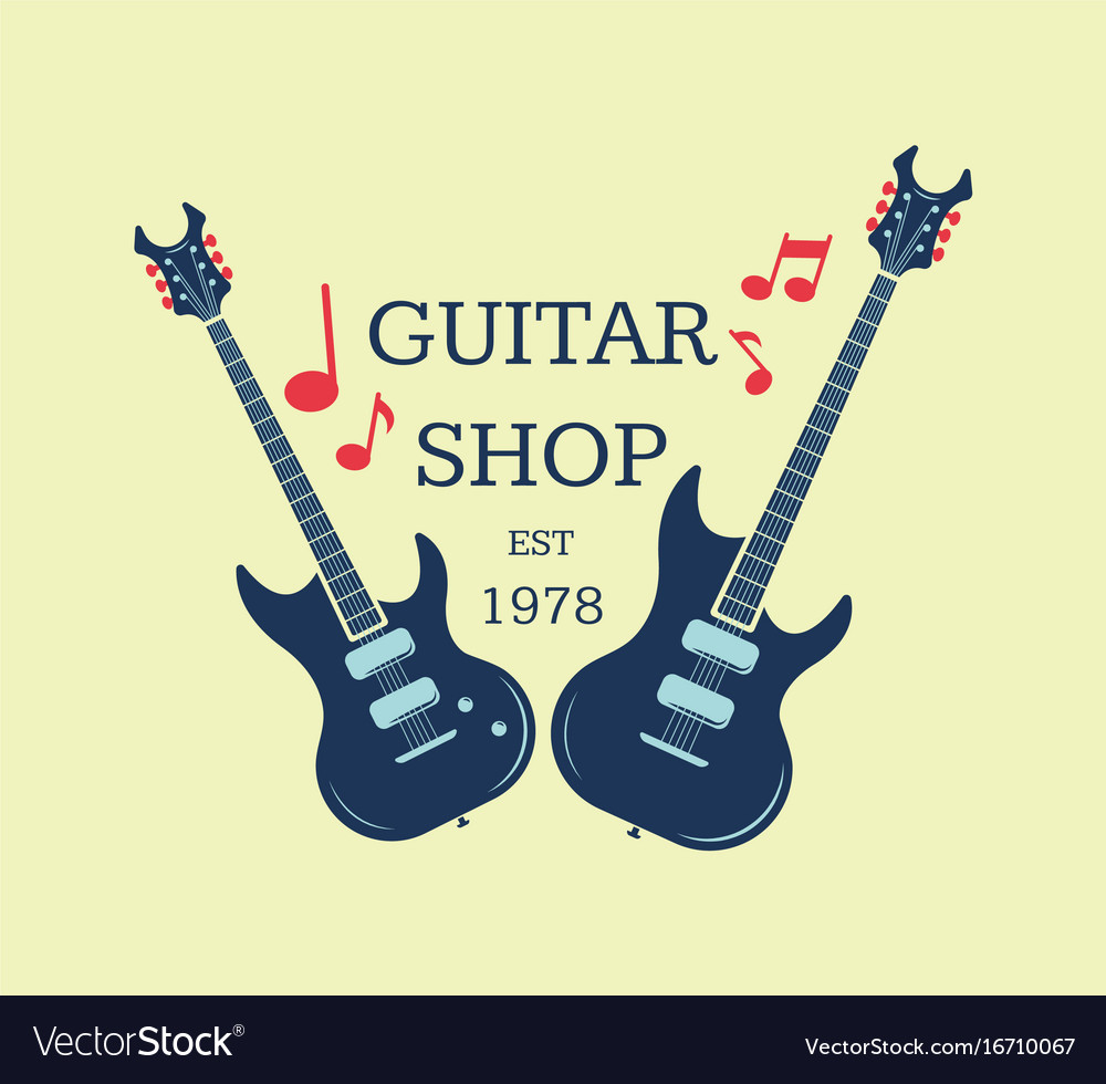 Guitar shop logo emblem with musical notes vector image