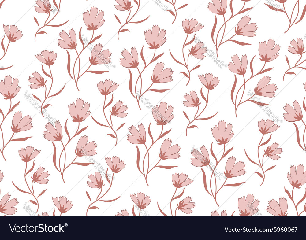 Seamless pattern autumn flowers colored in modern