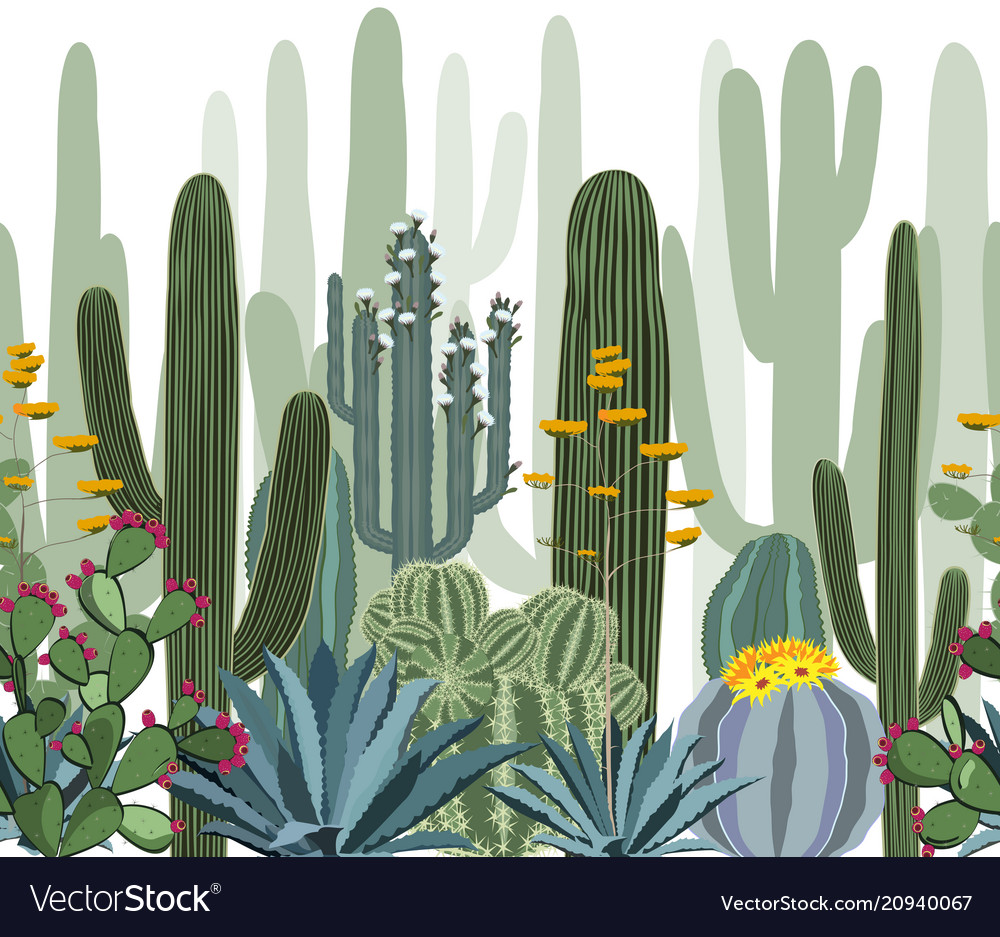Seamless pattern with cactus agave and opuntia