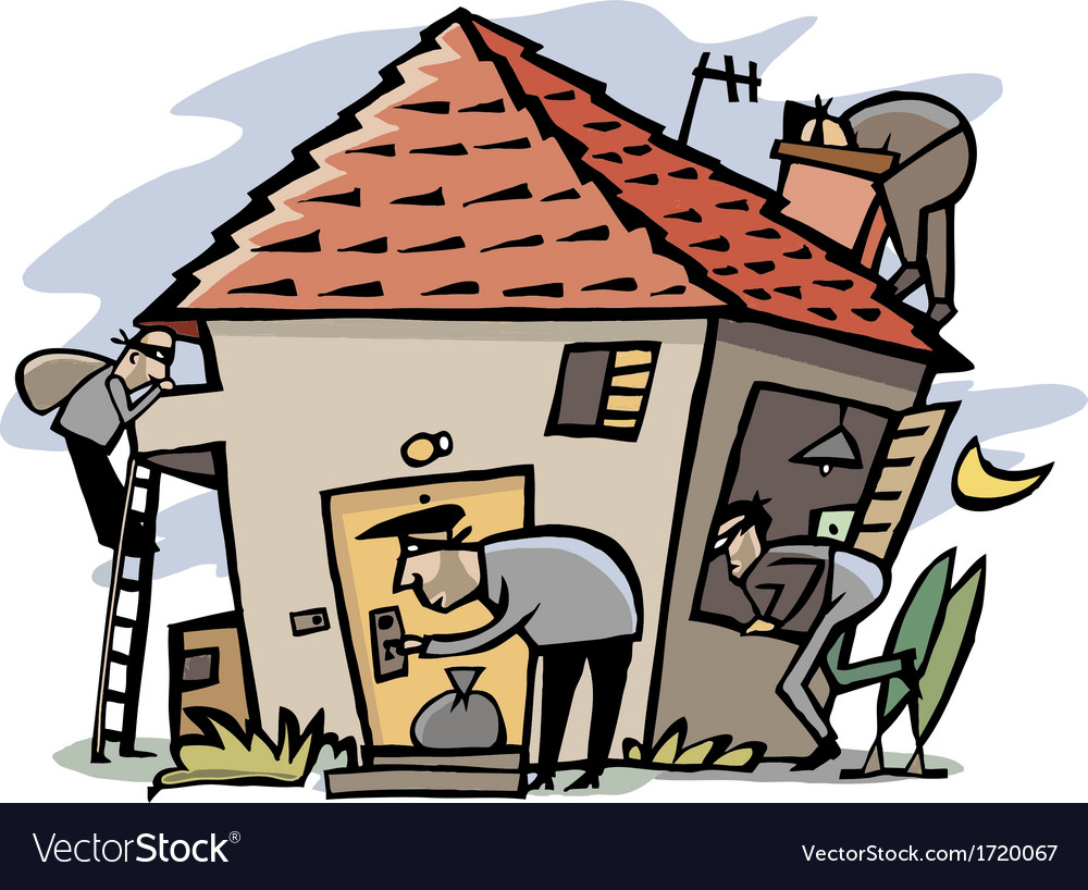 Thieves break into house vector image