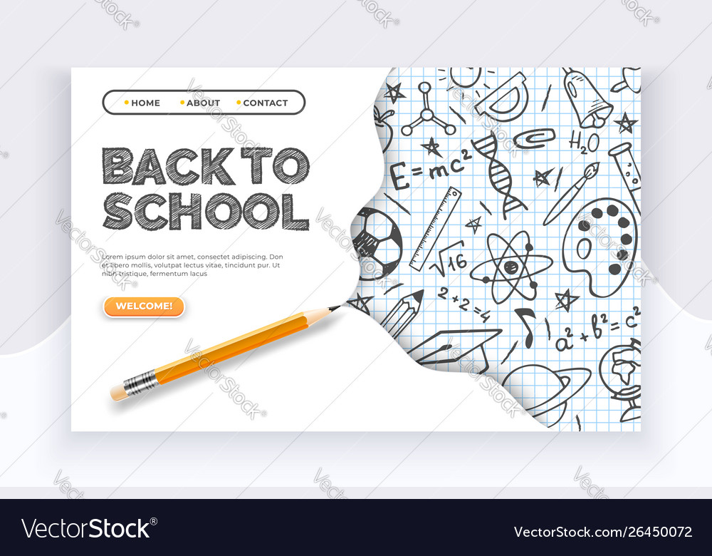 Back to school banner hand drawn educational