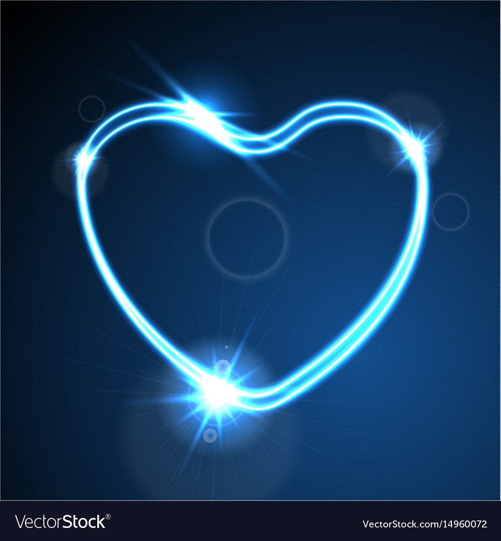 Blue heart glowing neon effect abstract