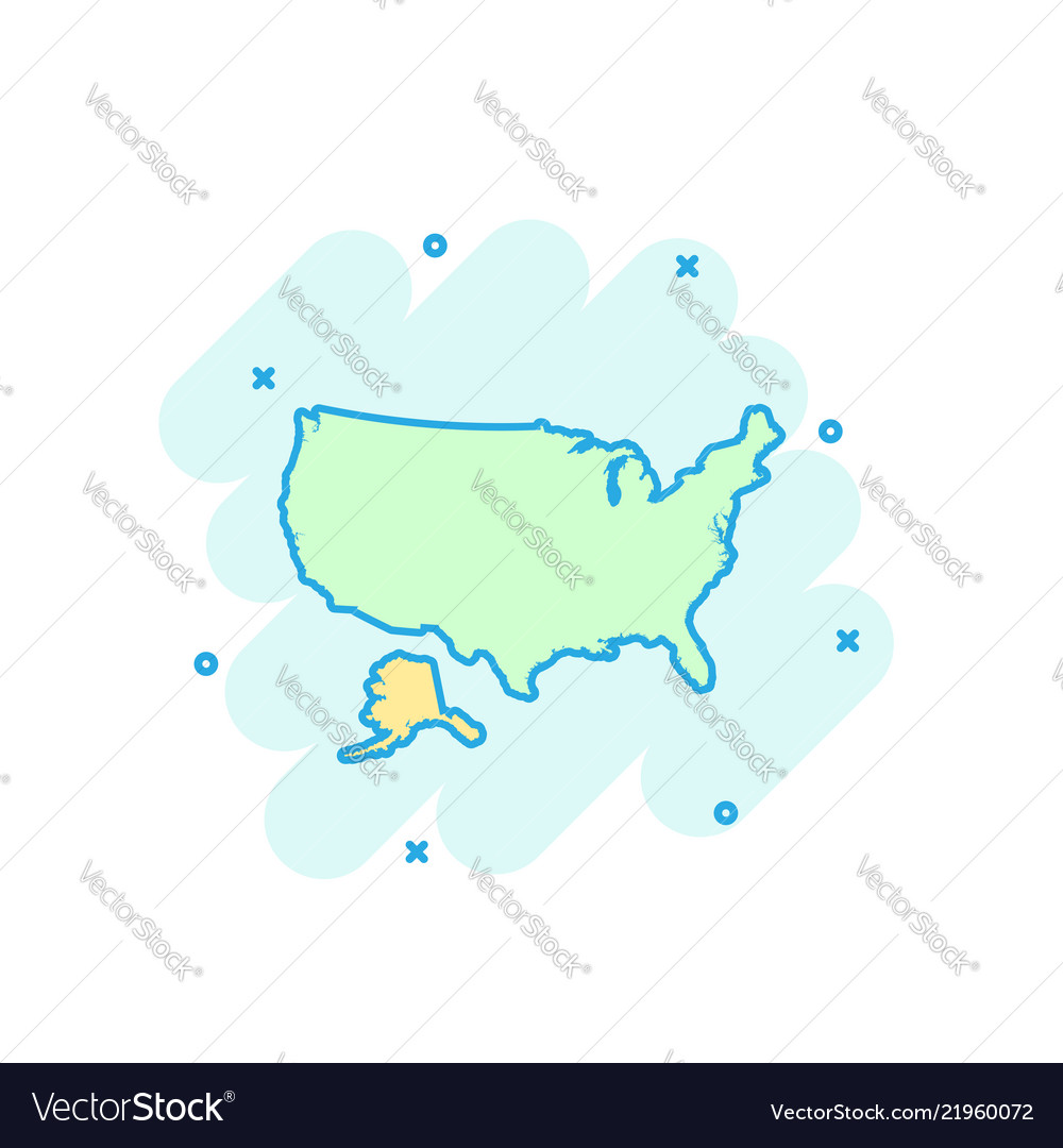 Cartoon colored america map icon in comic style