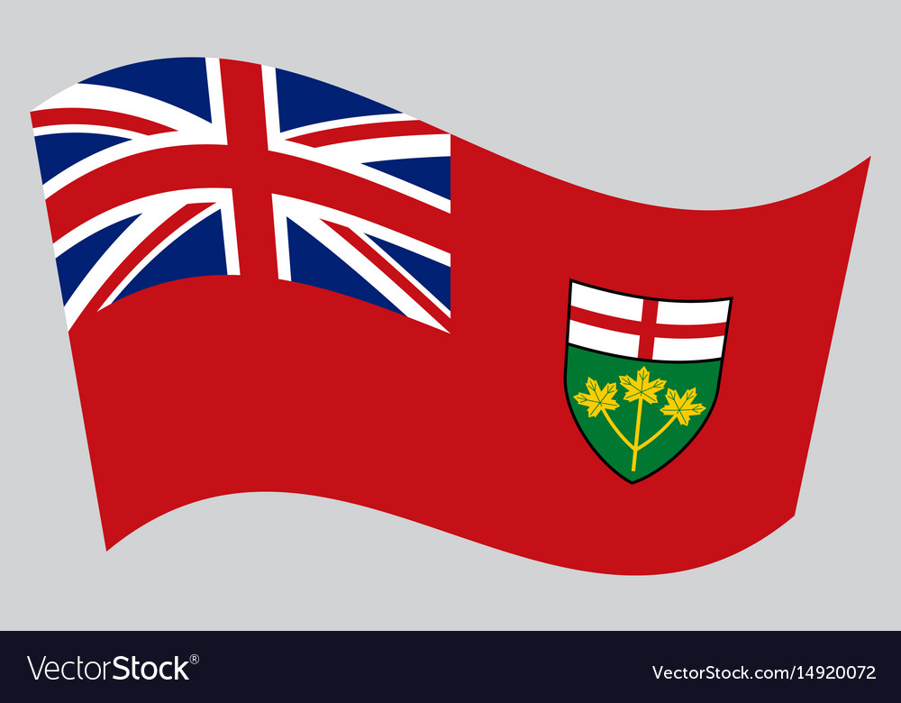 Flag of ontario waving on gray background