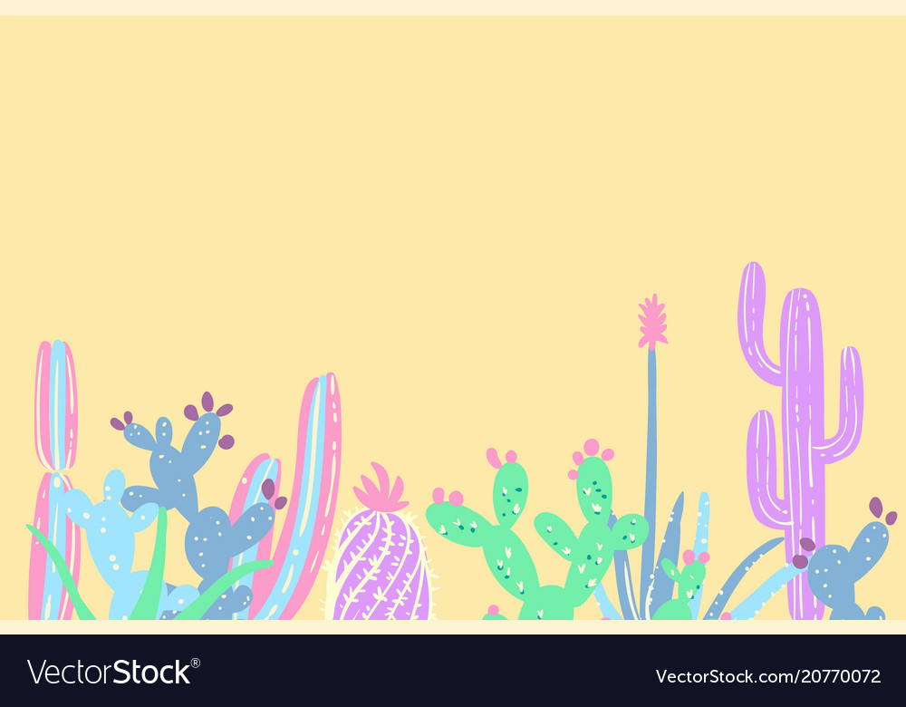 Hand draw cactus and succulents set