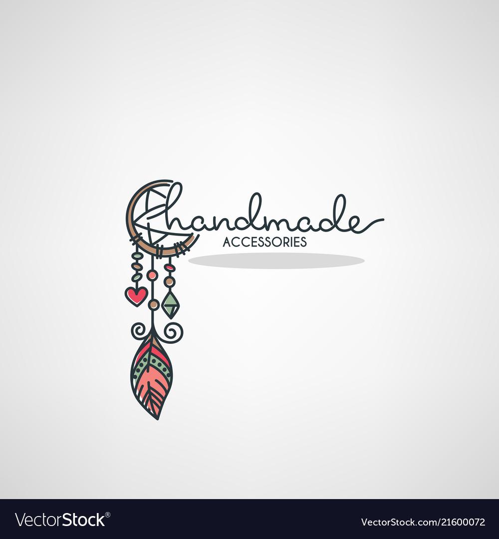Handmade accessories hand drawn doodle logo