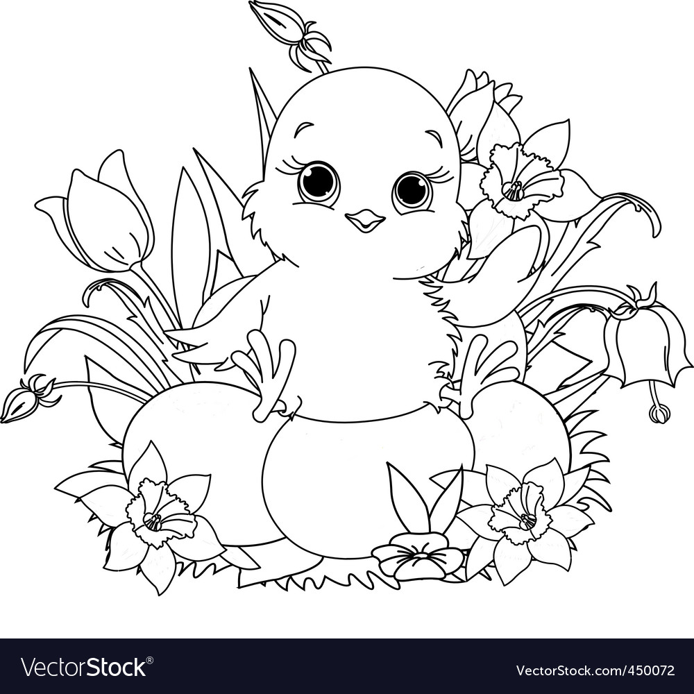 Happy easter chick coloring page Royalty Free Vector Image