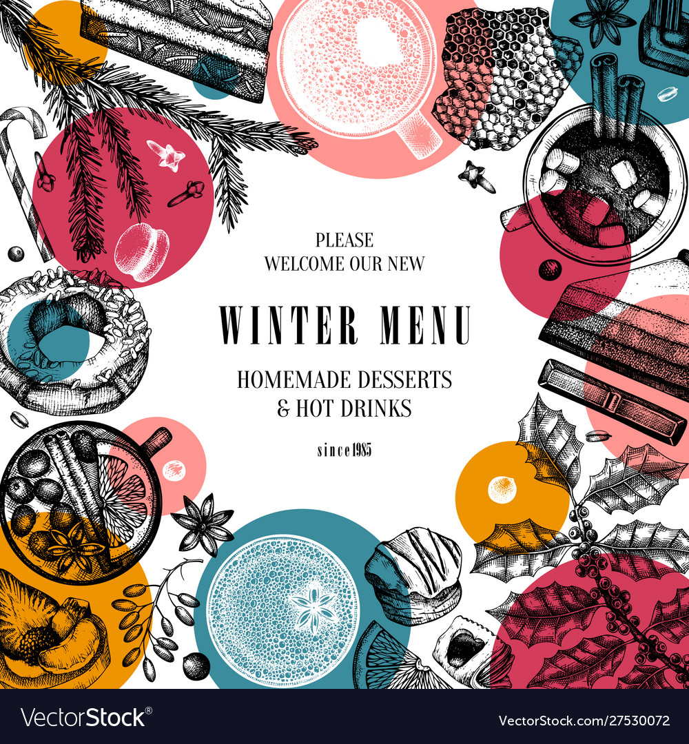 Hot drinks and desserts trendy design winter