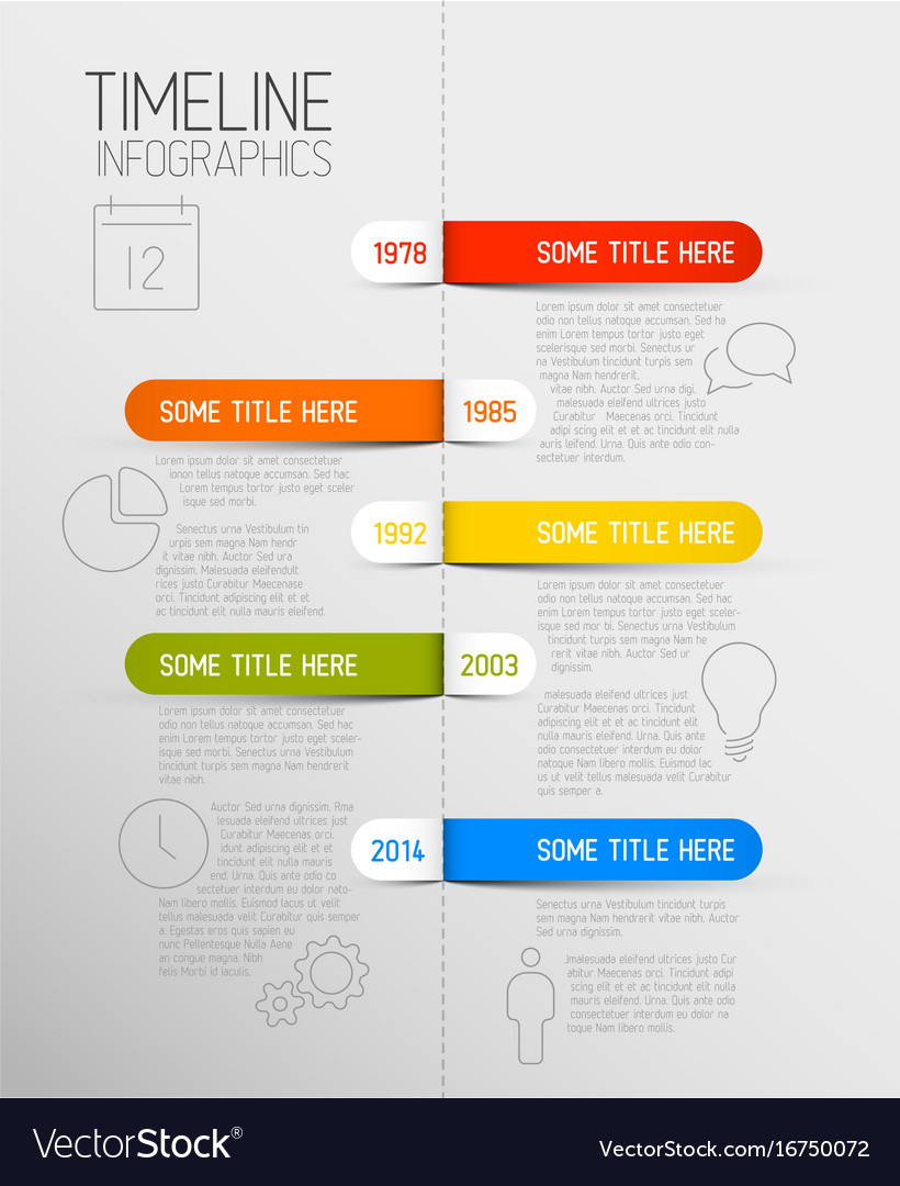 Infographic timeline report template with rounded