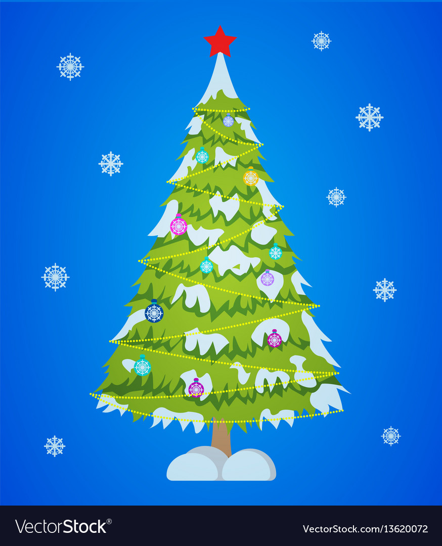 Merry christmas tree sign on blue background vector image