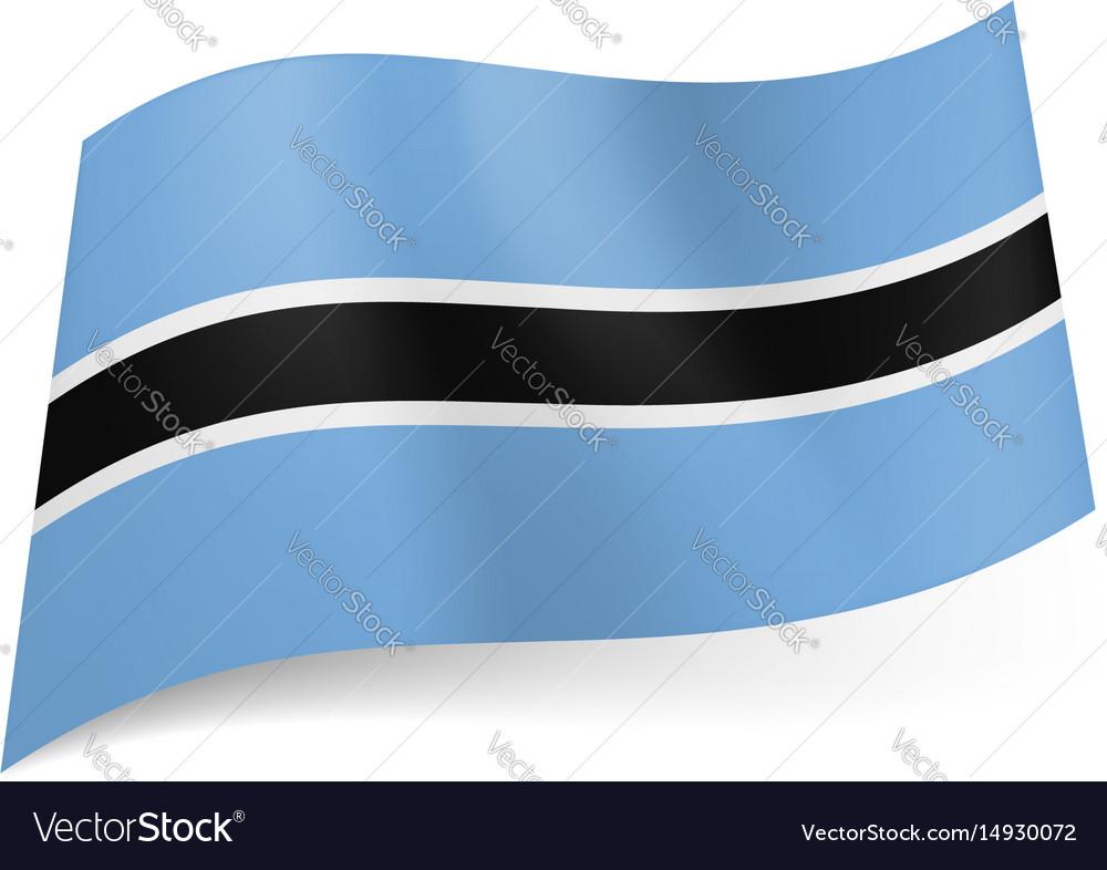 National flag of botswana white outlined