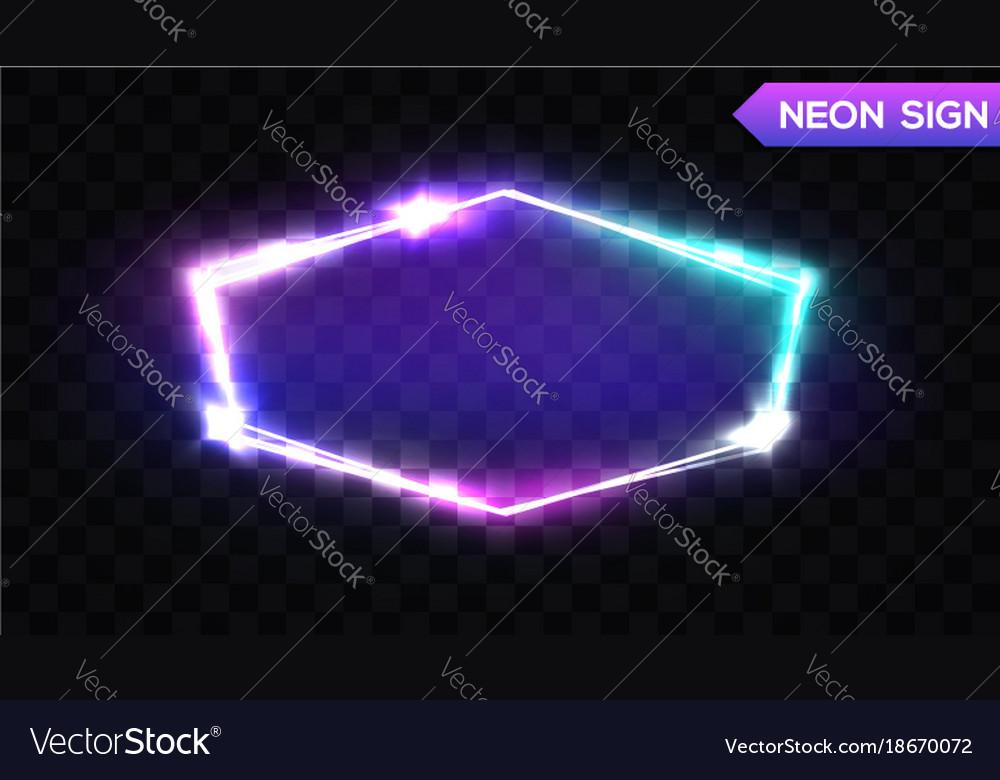 Night club hexagonal neon sign 3d light signboard vector image