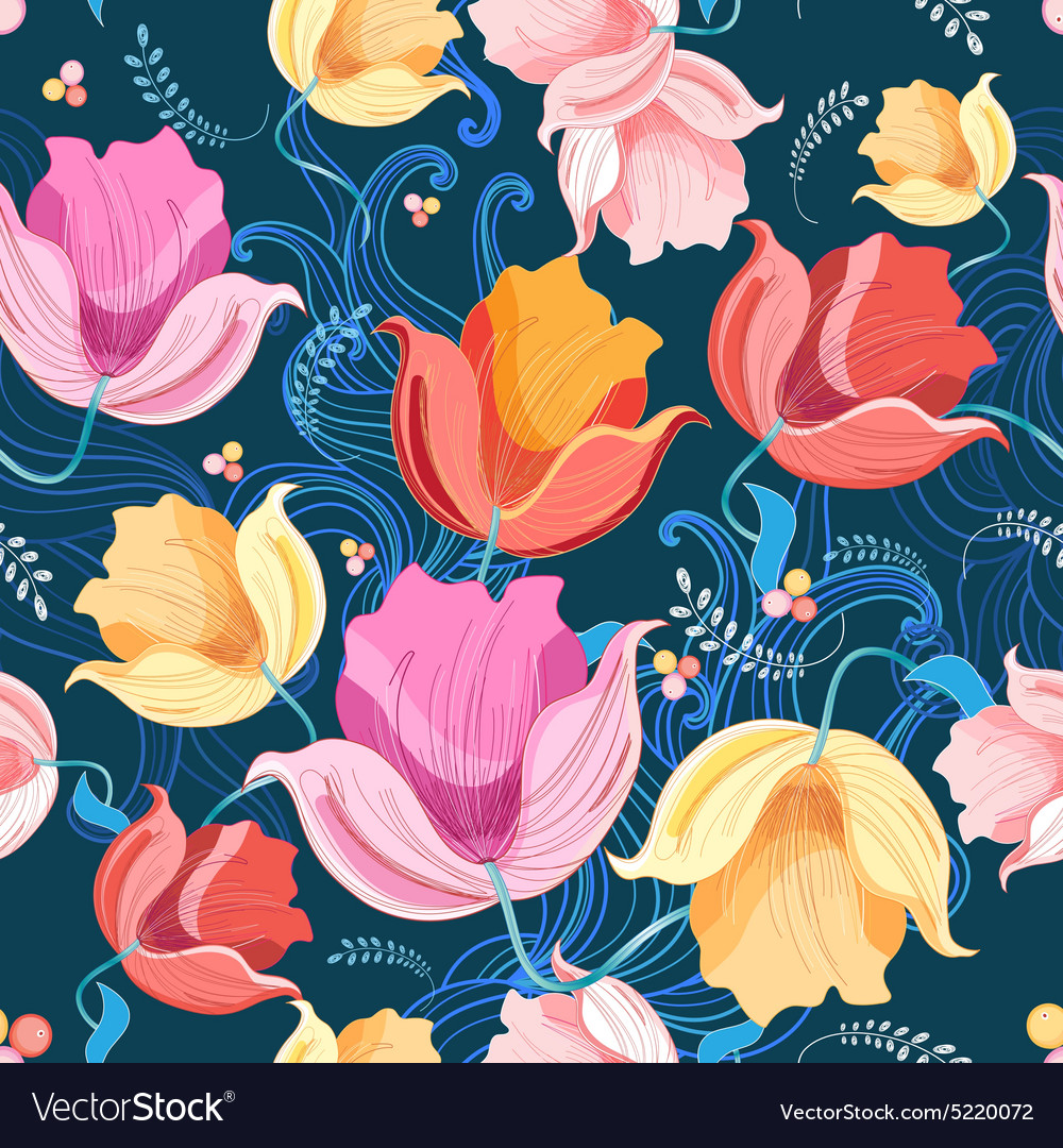 Pattern of flowers tulips