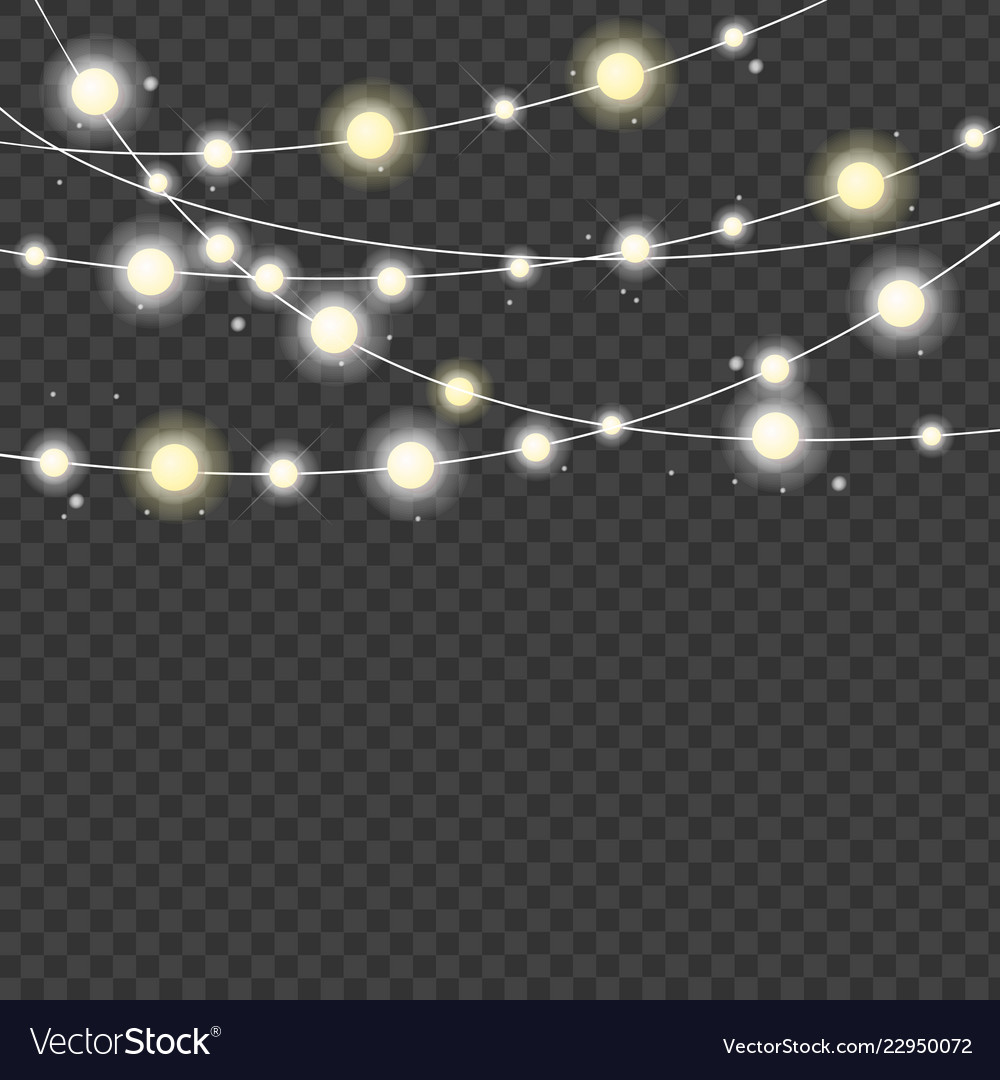 Christmas Fairy Lights Illustration.Realistic 3d Detailed Christmas Lights Strings