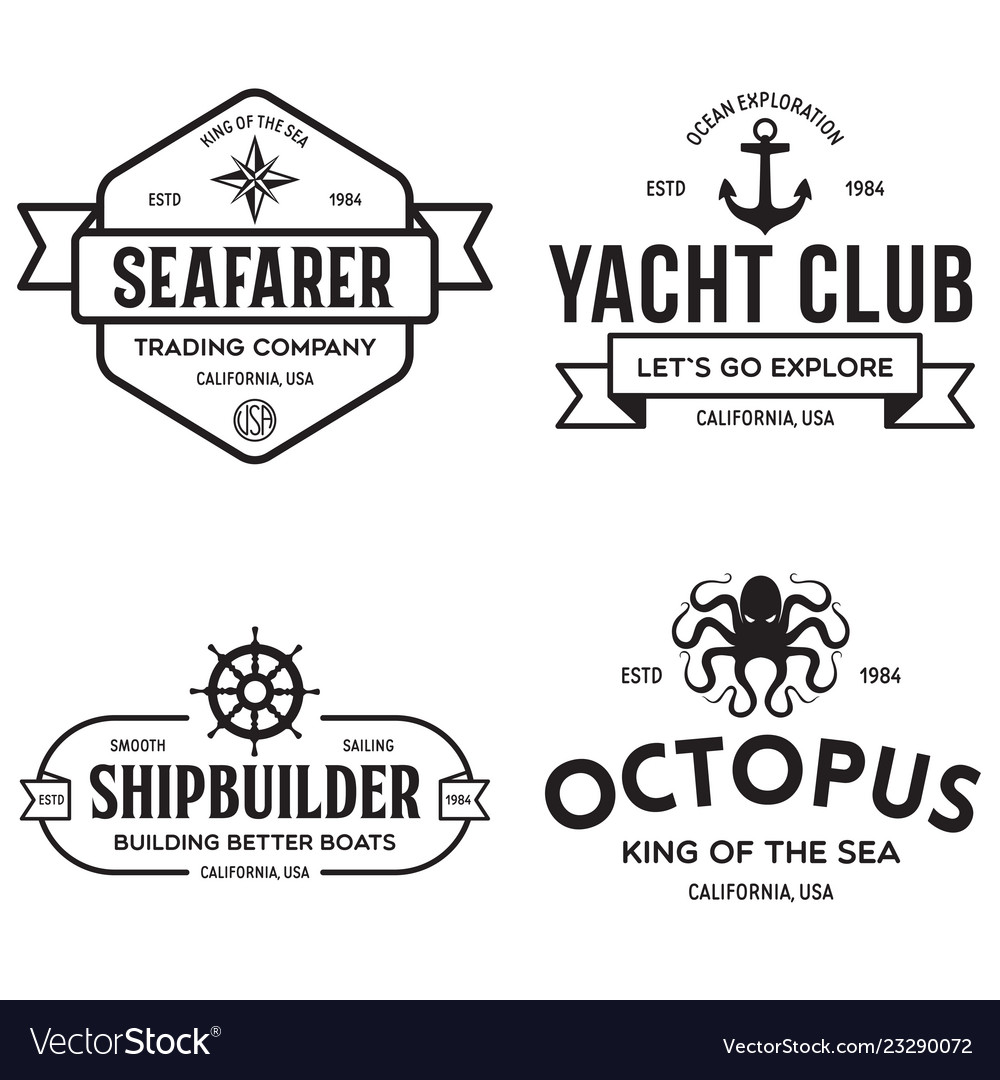 Set of sea and nautical typography badges and