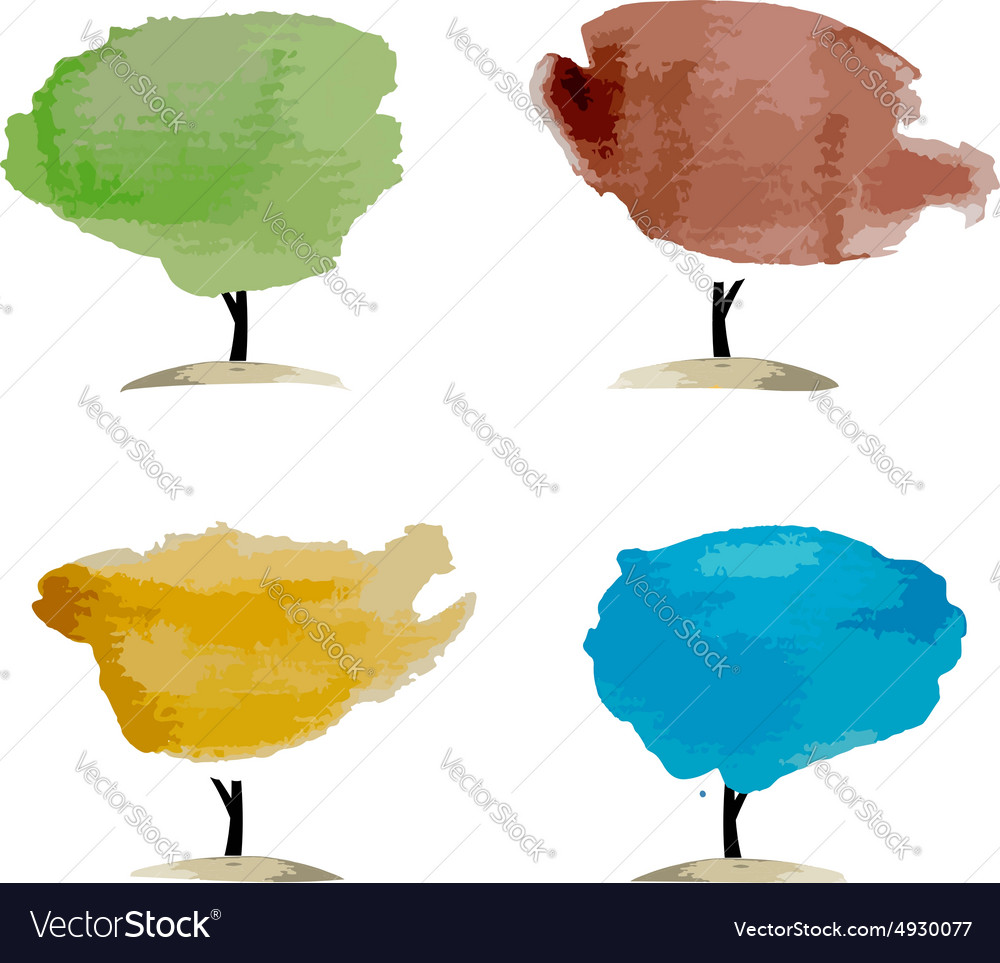 Abstract watercolor trees place for your text