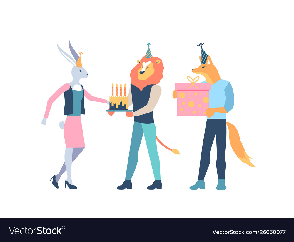Animal characters celebrate with cake gift box