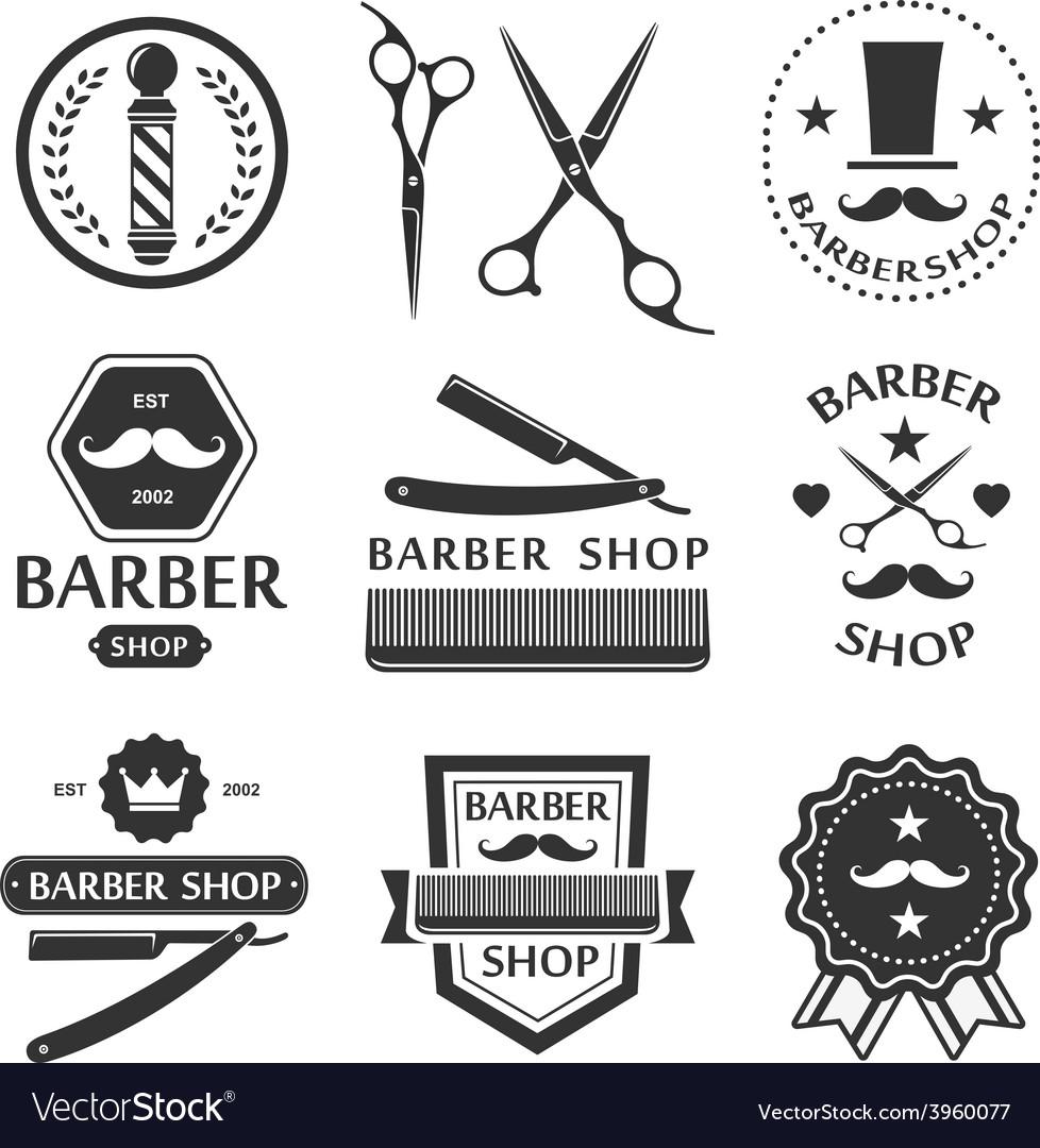 Barber shop logo labels badges vintage