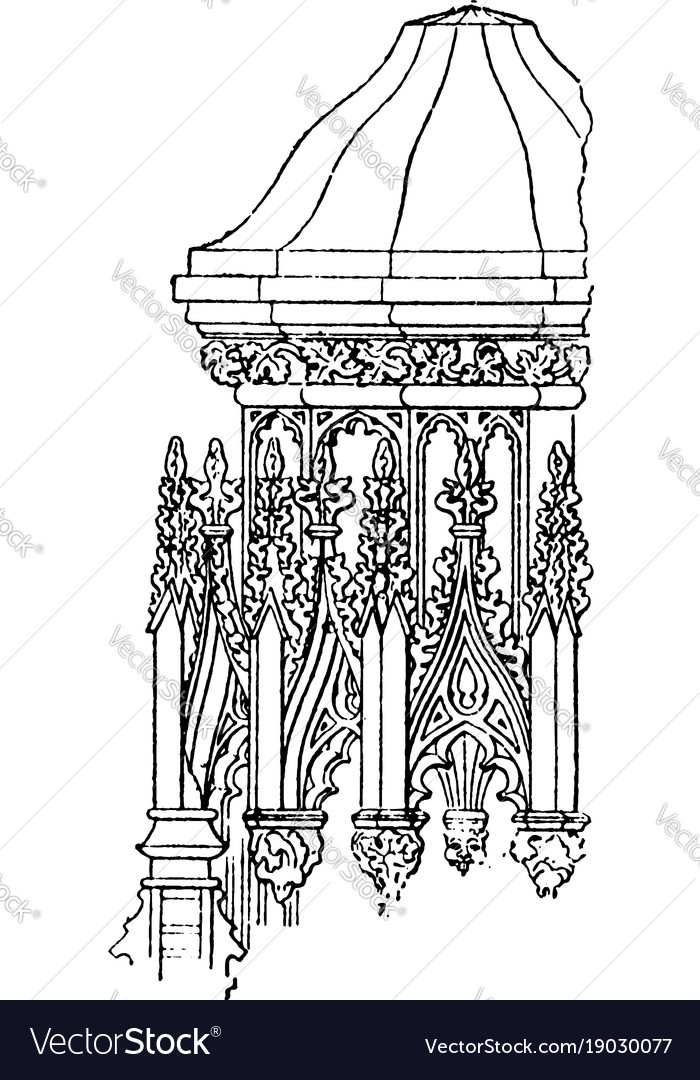 Canopy Detail Or Post Support Vintage Engraving Vector Image
