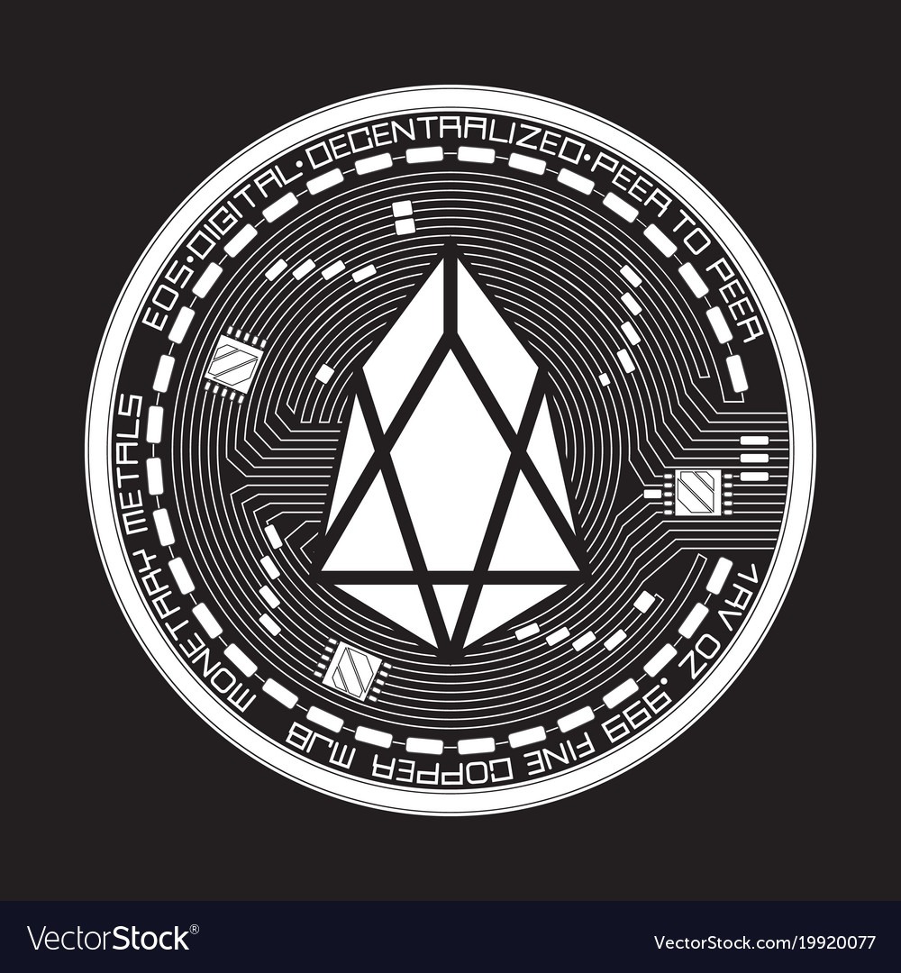 Crypto currency eos black and white symbol