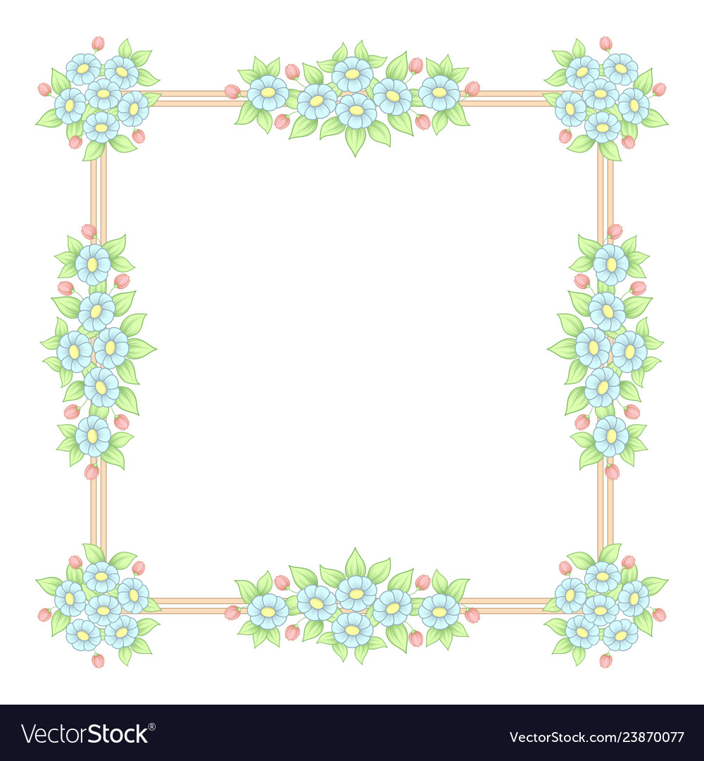 Daisy flowers pastel square frame