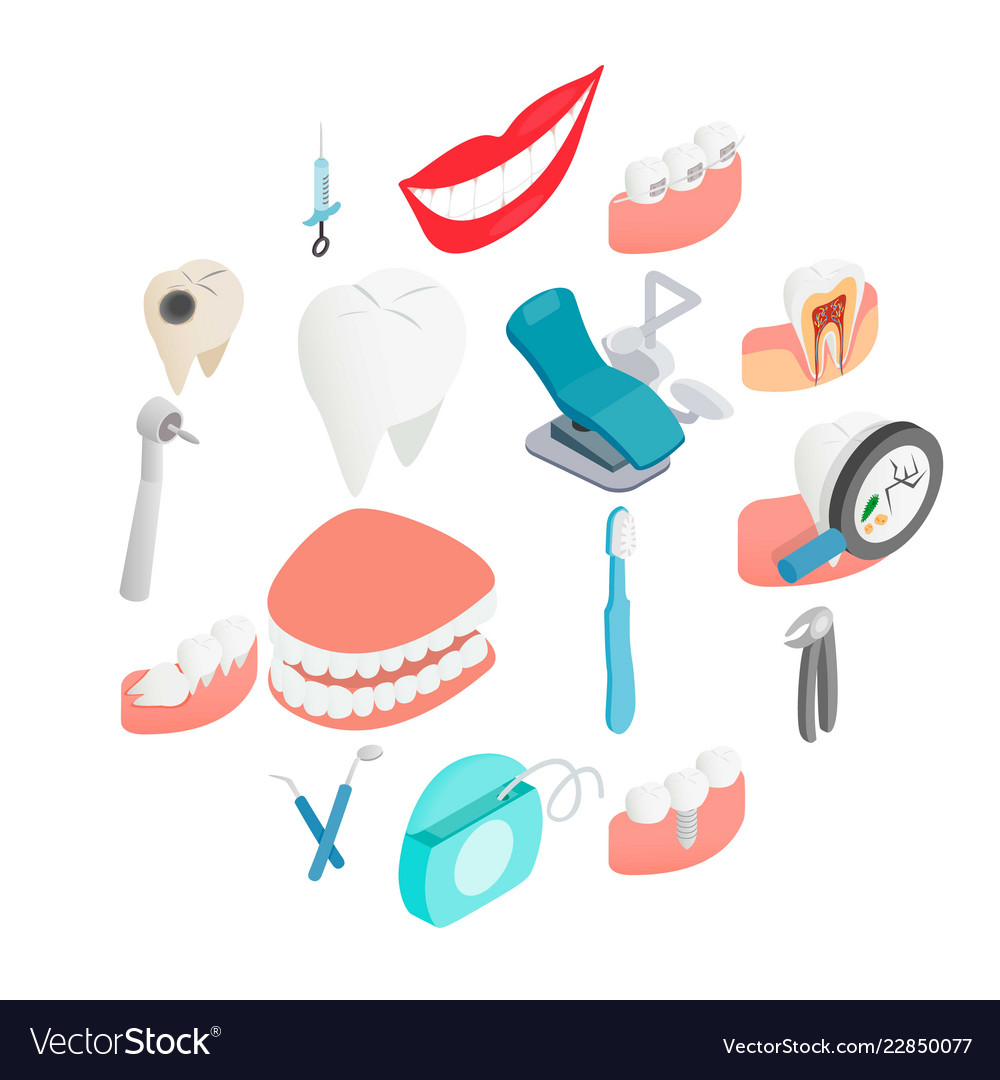 Dental set icons isometric 3d style