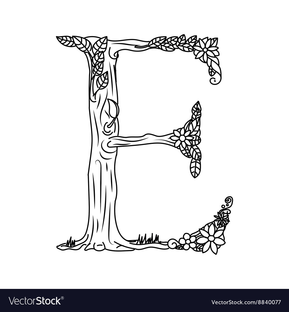 Letter E Coloring Book For Adults Royalty Free Vector Image